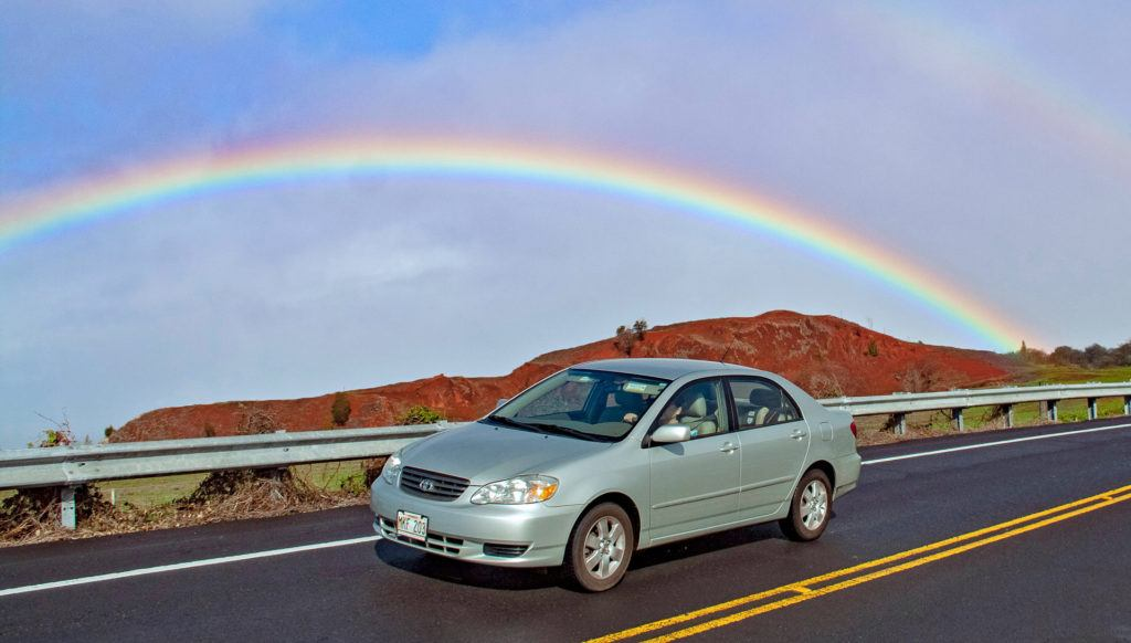 Rainbow Car Crater Road Upcountry Maui