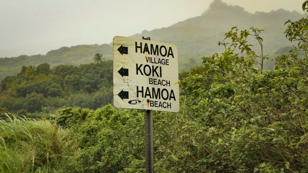 Hamoa and Koki Beach Road Sign Road to Hana Maui