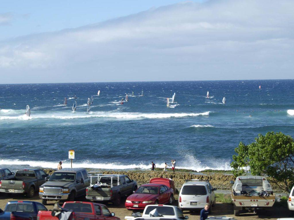 Hookipa windsurf and cars North Shore Maui